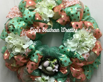 CLEARANCE SALE, Mint and Coral Wreath, Spring Wreath, Everyday Wreath, Hydrangea Wreath, Year Round Wreath, Mint and Coral 136