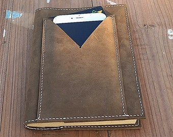 Leather Book Cover, Leather Journal Cover, Handmade Leather Cover, Refillable Book Cover