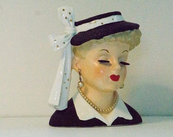 Vintage Napco Lady Head Vase C2633C