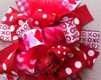 Valentines Bow, Valentines headband, Red Bow, Heart Bow, Valentines Day