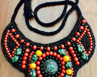 Vintage beaded tribal bib necklace...