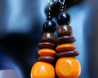 Orange brown wood stone, black beads lightweight earrings