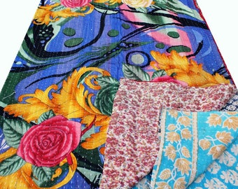 Magic Carpet Handmade Vintage Kantha Quilt Reversible Quilt Indian Throw Bedspread Indian Rug Cotton Blanket Beautiful and Charming Color