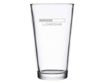 Loading Screen Gamer Gift Pint Glass Player 1 2 8 Bit Retro Gaming