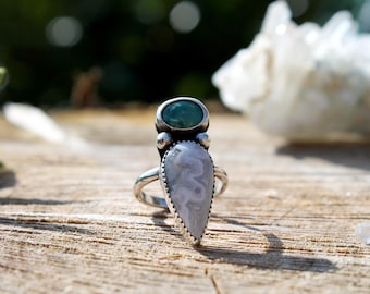 Unique white Crazy Lace Agate, Turquoise and Sterling Silver Ring SIZE UK L | US 6 boho bohemian style