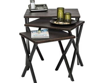 Nested Tables with Croc Patterned Top Set of 3