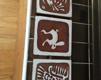 Vintage Red Ware Tiles set of three, Rabbit and Birds, white glazing over red/terracotta pottery base