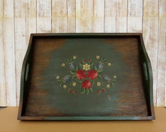 Rustic stained  Serving Tray, Hand painted Custom Wood Tray, Rustic  Gift, Anniversary Gift ideal for any occasion