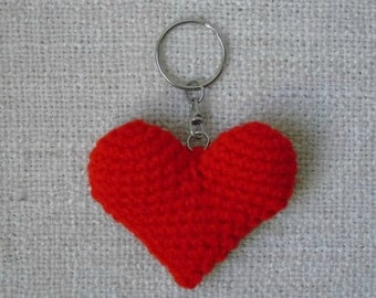 Red heart crocheted keychain