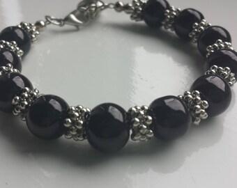Tibetan silver and black beads bracelet