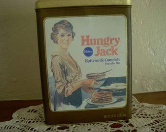 Tin Canister, Hungry Jack Buttermilk Pancake Mix by Pillsbury, Vintage