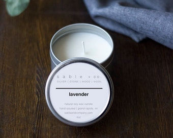 Lavender Essential-Oil Candle || minimal essential oil soy candle, perfect summer gift, Simple home decor