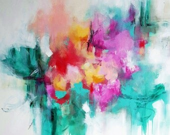 Original painting green, red, pink, beige, white, orange, peach, black, teal 36x36 inch gallery wrapped cotton canvas