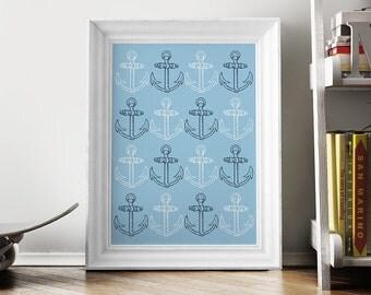 Blue Anchors Print, Anchor Art Print, Anchor Printable Wall Art, Nautical Nursery, Kids Room, Bathroom Decor - 041