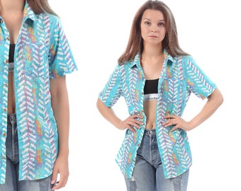 Aztec Shirt Ethnic 90s Grunge Unisex TRIBAL Chewron Print Cotton Blouse Turquoise Blue Vintage Oversized Button Up Down Short Sleeve Medium