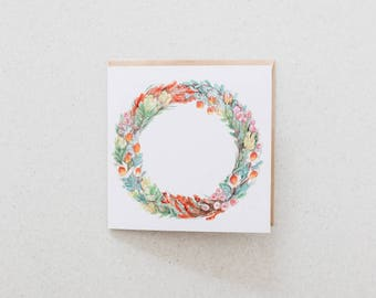 Australian Wreath - blank watercolour greeting card - recycled, 125mm square - with kraft envelope