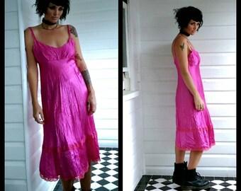80s 90s Courtney love Pink slip dress lace trim empire waist babydoll prom bias cut silky goth pastel rock formal satin midi grunge rock