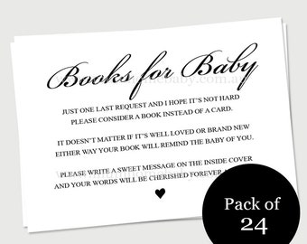 Baby shower party invitation inserts - Bring a book instead of card - 24 Pack