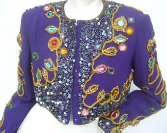 Amazing Jewel Encrusted Purple Silk Bolero Jacket. 1980's.