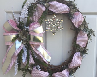 Winter Wreath, Pink Silver Wreath, Snowflake Wreath, Wreath Street Floral, Grapevine Wreath, Wreath, Door Wreath
