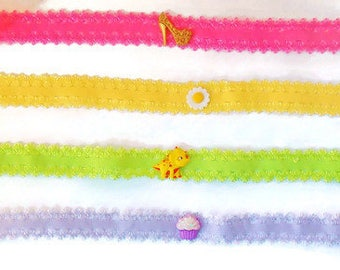 Choker Necklace/Girls Jewelry/Extension Chain/Repurposed Buttons/Dinosaur/Unicorn/High Heel/Cupcake/Daisy/Pink/Lilac/Yellow/Green