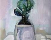 Pot Cactus, Flowerpot CACTUS -image of the houseplant painting of a pot plant /plant motive/ Cactus in the concrete flowerpot
