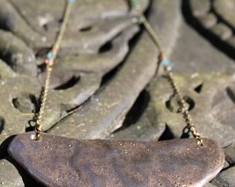 Mid Length Ceramic Bib Necklace
