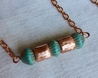 Copper Turquoise Necklace/Turquoise Bicone Czech Glass beads/ Unique Necklace for Women/copper chain and clasp/ handmade