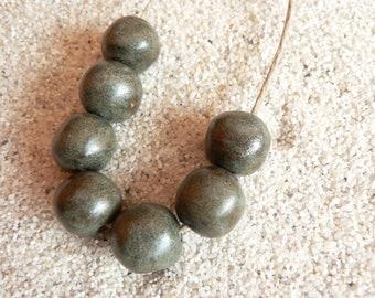 Seven Stone Green, Matte Stoneware Beads, Ethic Artisan Beads, Ceramic Beads