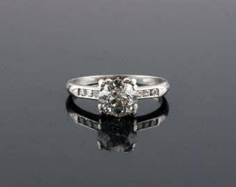 Vintage 1930s 1.25 Ct Diamond Engagement Ring, Platinum, G I2