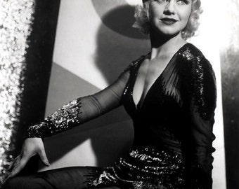Ginger Rogers Film Actress Glossy Hollywood Black & White Photo Picture Print A4