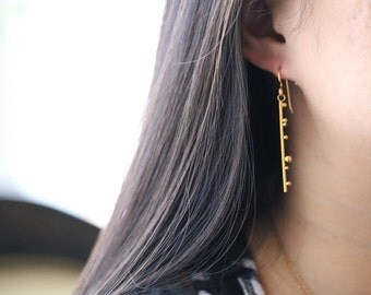 Bar Dangle Earrings, Long Bar Earrings Gold, RINGCRUSH, Simple Bar Earrings, Line Earrings, Gold Plated Earring, RINGCRUSH, Statement Ear