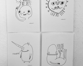 4 A4 weird doodle prints- whale, heart, okay, brighten your day