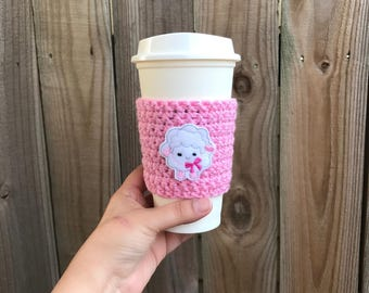 SALE---Baby Lamb Cup Cozy, Coffee Cozy, Reusable Coffee Sleeve, Easter gifts, Teacher gifts