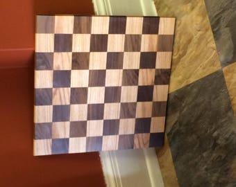 Red Oak & Black Walnut Chess/Checker Board without Border