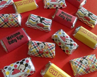Mickey Mouse Baby Shower Miniature Candy Bar Wrappers