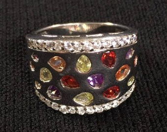Ring With Multi Gemstone Sterling Silver