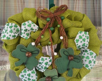 Get Your Green On Deco Mesh Wreath FREE SHIPPING