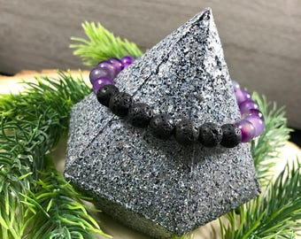 Essential Oil Diffuser Bracelet | Purple Agate | Natural Stone | Healing Bracelet | Gift for Her | Zen Bracelet | Lava Rock Jewelry