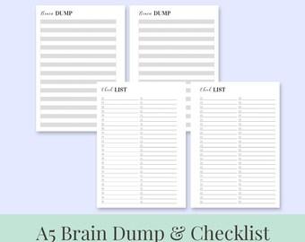 A5 Printable Brain Dump, Checklist, To-Do List, Notes - CLASSIC