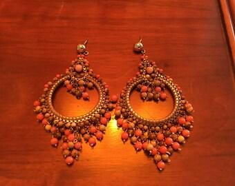 Vintage coral glass bead & brass drop dangle hoop earrings