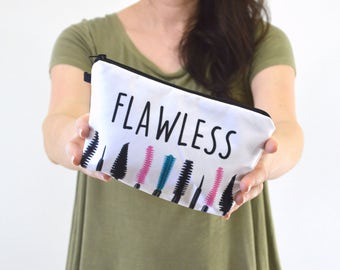 "Mascara Print Zippered Cosmetic Bag, Make-up Bag, Toiletry Bag, Pouch - 8"" x 5.5"""