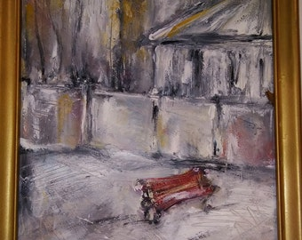 Oil Painting. Red Bench