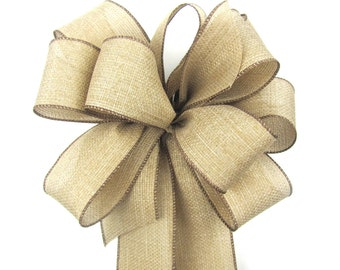 Rustic Wreath Bow - Burlap Wreath Bow - Natural Country Chic Wreath Bow