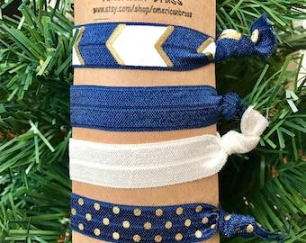 Navy blue hair elastics