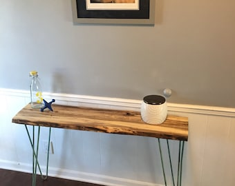 Reclaimed Live Edge Sofa Table/Side Table - Locally Sourced Wood
