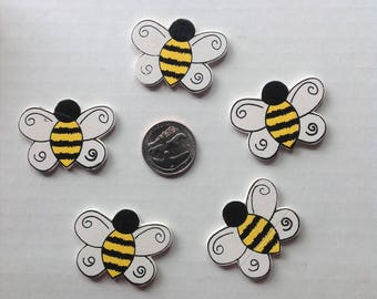 BUMBLE BEE EMBELLISHMENTS Bugs Insects Flat Back Wood Girls Baby Hairbows - Sold by 2,3 and 5 Peices