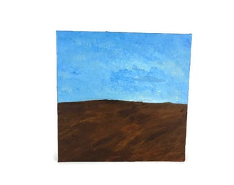 Blue Skies - Abstract Landscape Painting 12x12 inch Square Painting, Brown Painting, Blue Painting, Sky Painting, Wall Art, Home Decor