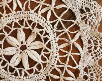 Beautiful vintage crocheted doily, Vintage fabric