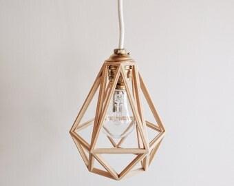 Industrial Vintage Suspension / Light / Shade / Pendant Light cage wooden 3D printed Diamond
